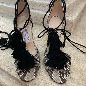 Jimmy Choo Mindy Tassled Python Sandal